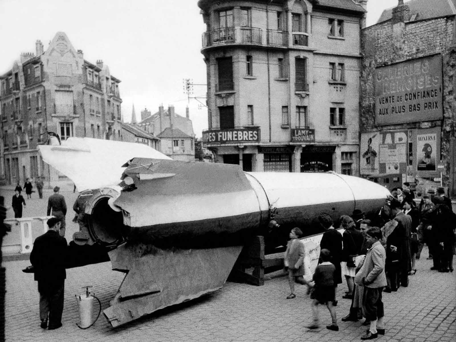 A V-2 rocket on display in Reims, France. 1945.