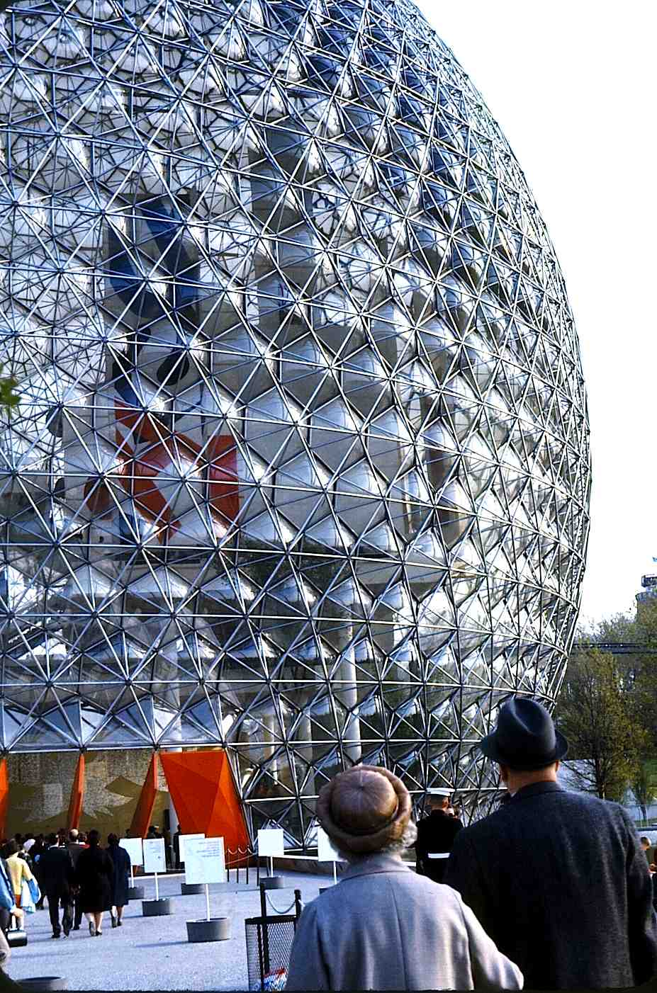the 1967 USA pavilion at Expo '67 in  Montreal, an icosahedral geodesic dome designed by Buckminster Fuller