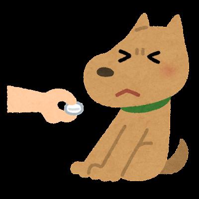 薬を嫌がる犬のイラスト
