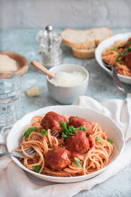 Boulettes de sanglier, spaghettis sauce tomate