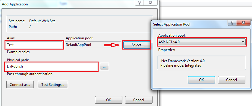 Select application physical path and apppool