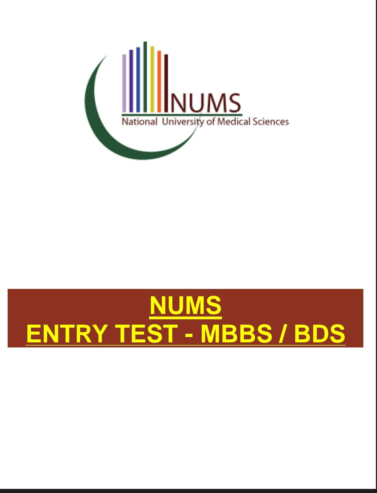 NUMS Syllabus 2019 For Entry Test with English Vocabulary