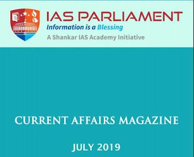Shankar IAS Academy Monthly Current Affairs July 2019 PDF