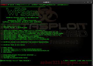wpscan -u (url target) --wordlist darkc0de.lst --username admin
