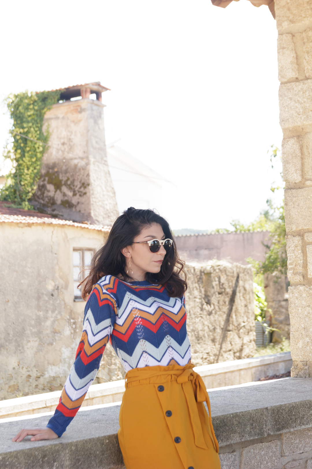 Camisola colorida de malha
