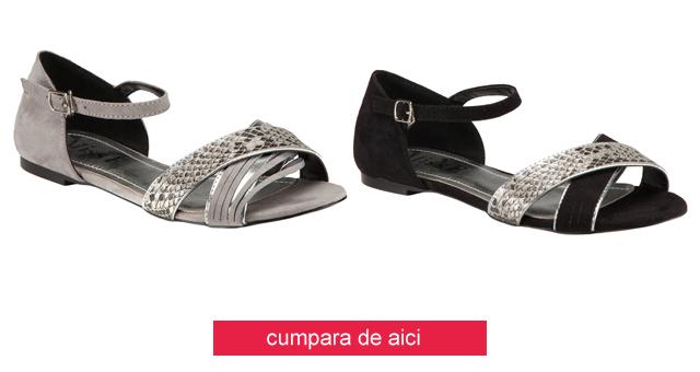 Sandale de catifea casual negre, argintii fara toc ieftine de vara