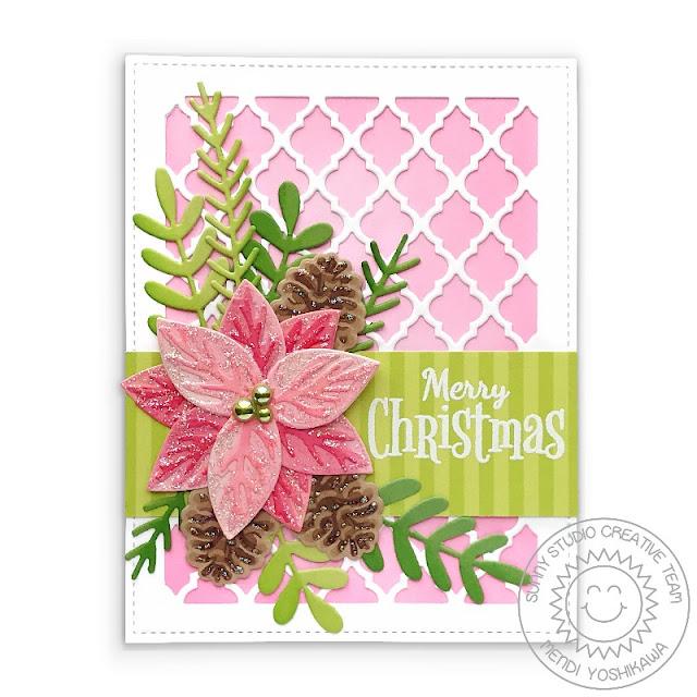 Sunny Studio Pink Christmas Card (using Pristine Poinsetta, Winter Greenery, Frilly Frames Quatrefoil Dies, Retro Ornaments Stamps & Sleek Stripes Paper)