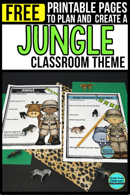 JUNGLE Theme Classroom: If you're an elementary teacher who is thinking about a African Safari, Safari, Animals, Wild about Learning or Jungle theme then this classroom decor blog post is for you. It'll make decorating for back to school fun and easy. It's full of photos, tips, ideas, and free printables to plan and organize how you will set up your classroom and decorate your bulletin boards for the first day of school and beyond.