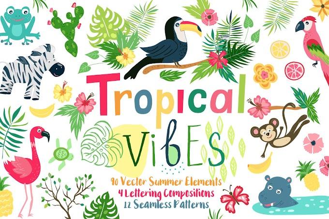 Summer Tropical Cute Vector Pack