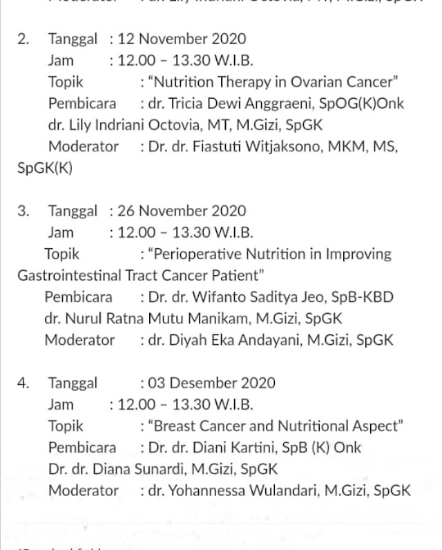 """Nutrition Therapy in Cancer Management""  Kamis, 05 November 2020 (12.00-13.30 WIB)"