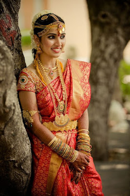 Traditional south Indian wedding saree.