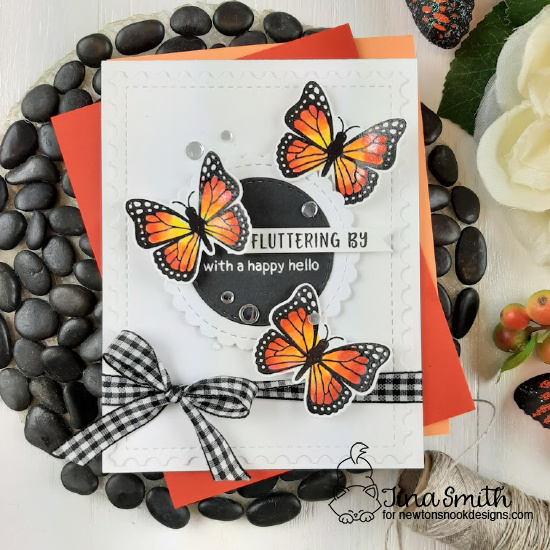 Butterfly Card  by  Tina Smith | Monarchs Stamp Set, Framework Die Set and Circle Frames Die Set by Newton's Nook Designs #newtonsnook #handmade