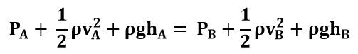 Ecuación de Bernoulli entre los puntos A y B del ejemplo 2