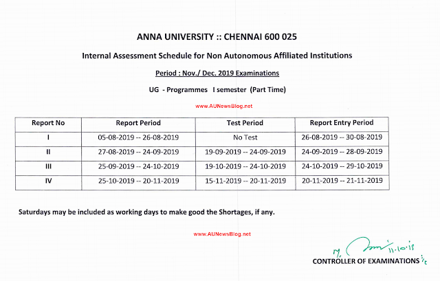 The following Schedule is only for UG Part-Time First semesters.