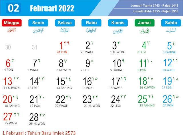 Kalender cdr pebruari 2022 - Kanalmu