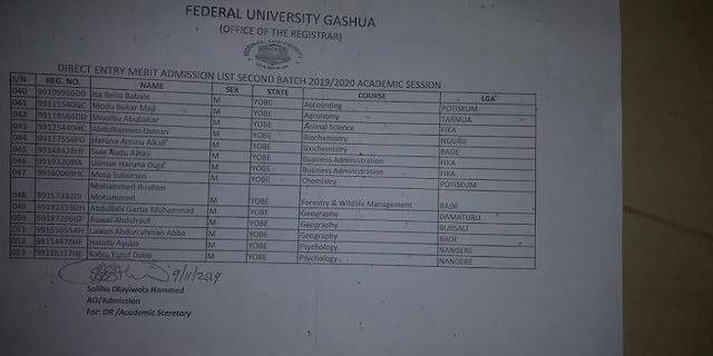 FUGashua Admission List 2019/2020 [PDF Download]   1st & 2nd Batch
