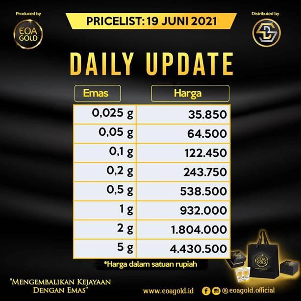 Pricelist EOA Gold hari ini - Sabtu 19 Juni 2021