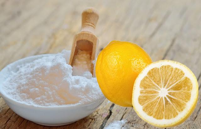 Ilustrasi baking soda dan buah lemon
