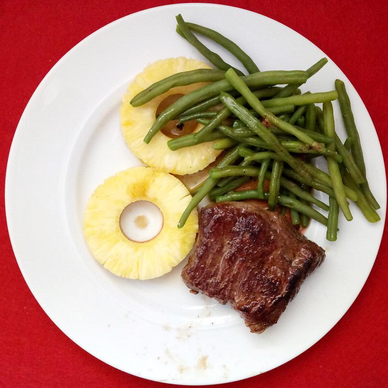 Foodporn: John Higgins Diät - Rumpsteak an Ananas und grünen Bohnen