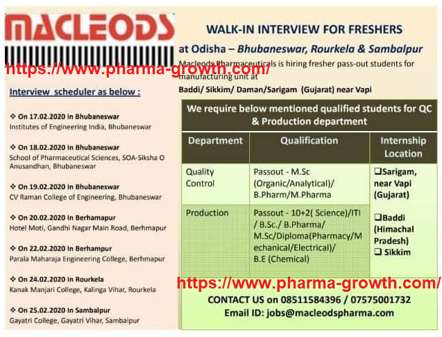 Macleods Pharmaceuticals Ltd - Walk in interview for Quality Control, Production on 17th to 25th Feb 2020