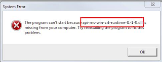 Mengatasi Error api-ms-crt-runtime-l1-1-0.dll