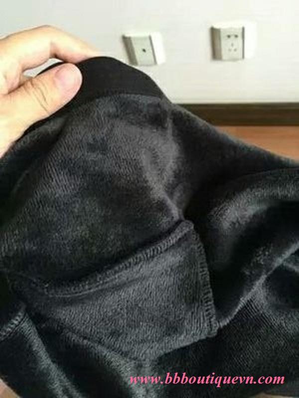Chất vải Quần bầu lót lông BBBoutique cạp chéo màu đen