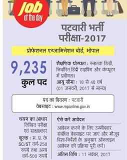 MP Patwari Recruitment 2017 9235 Bharti Latest News, Nayab Tehsildar