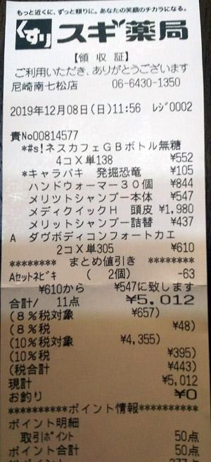 スギ薬局 尼崎南七松店 2019/12/8 のレシート