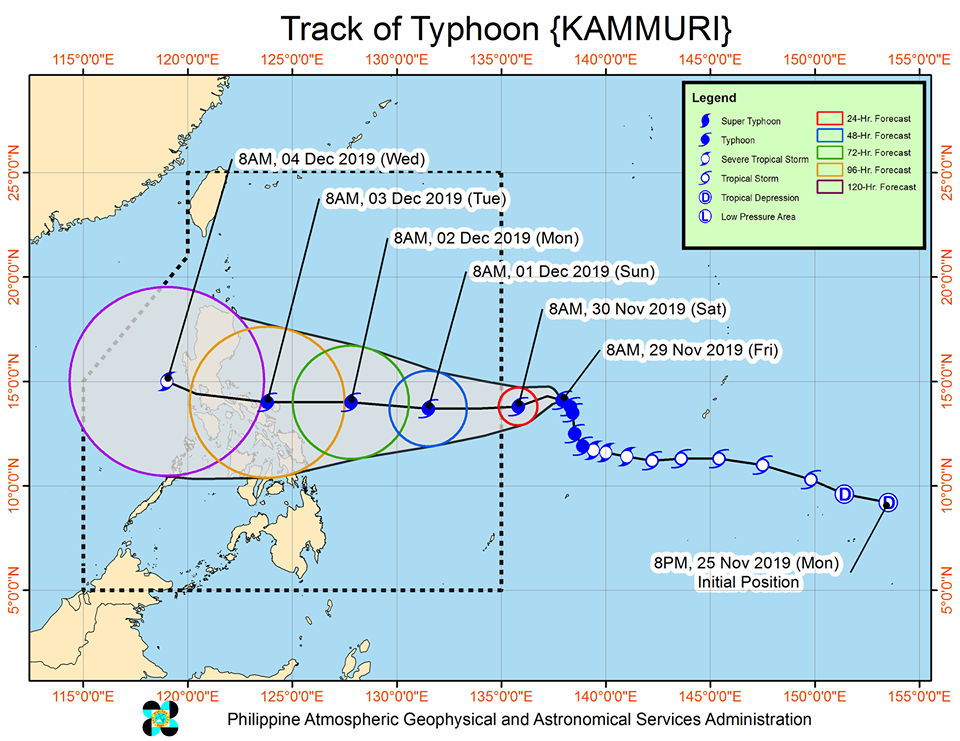 Track of Typhoon Kammuri (Tisoy). Photo Credit: DOST-PAGASA