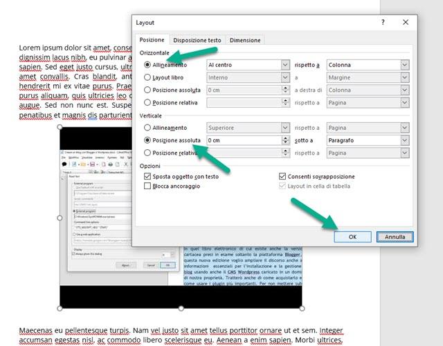allineamento testo in word