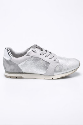 Tamaris - Pantofi sport de dama argintii la moda la reducere