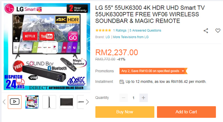 harga smart tv