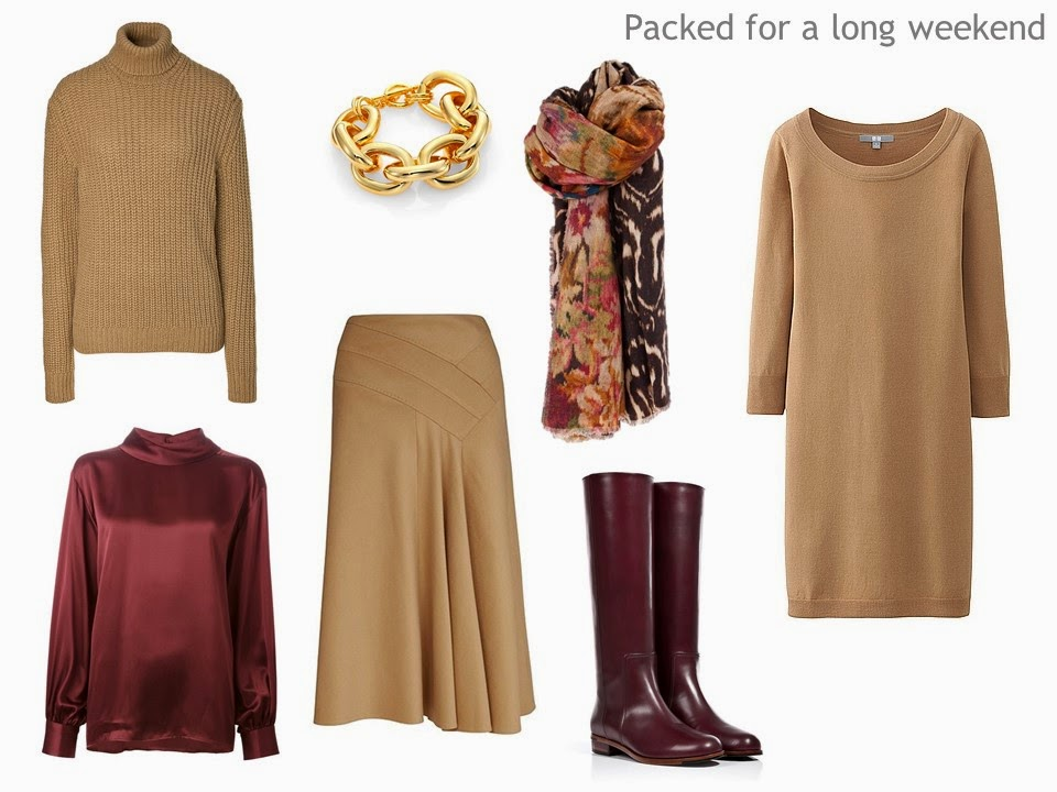 camel and burgundy Four Pack travel capsule wardrobe