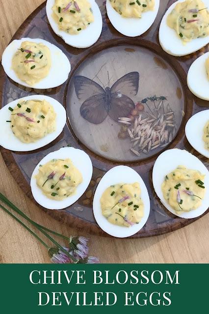 Platter of chive blossom deviled eggs.