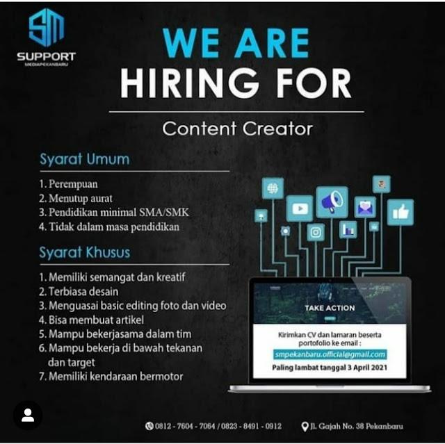 Support Buka Lowongan Posisi Content Creator