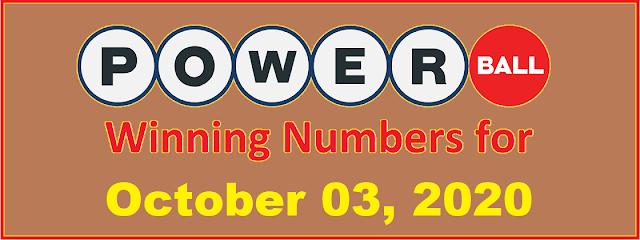 PowerBall Winning Numbers for Saturday, October 03, 2020