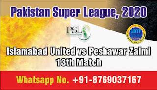 Islamabad United vs Peshawar Zalmi Pakistan Super League 13th T20 100% Sure