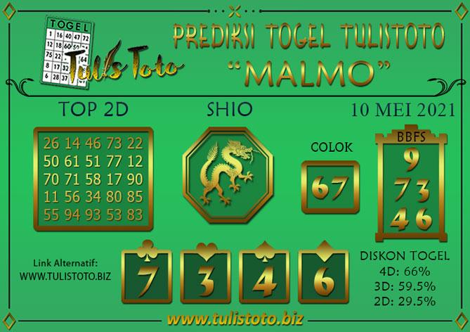 Prediksi Togel MALMO TULISTOTO 10 MEI 2021