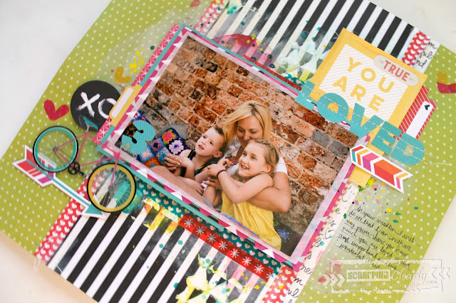 """ you are loved"" layout by Bernii Miller for Scrapping Clearly using Bella Blvd , illustrated Faith Bright and Brave collection."