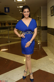 Mannara Chopra in Short Blue Dress at Rogue Movie Teaser Launch 1st March 2017 104.JPG