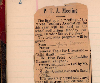 An old newspaper clipping announcing the date of a PTA meeting