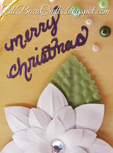 Simple handmade Christmas gift tag featured on CdeBaca Crafts blog.