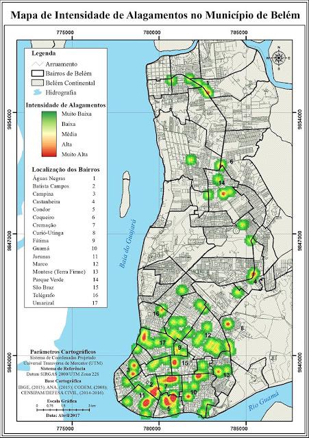 Mapa de Intensidade de Alagamentos no Município de Belém - NAGEO Cartografia