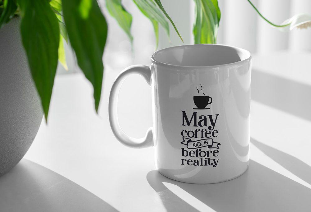 Coffee Mug and Plant Mockup