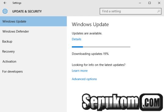 Tunggu proses download File Update