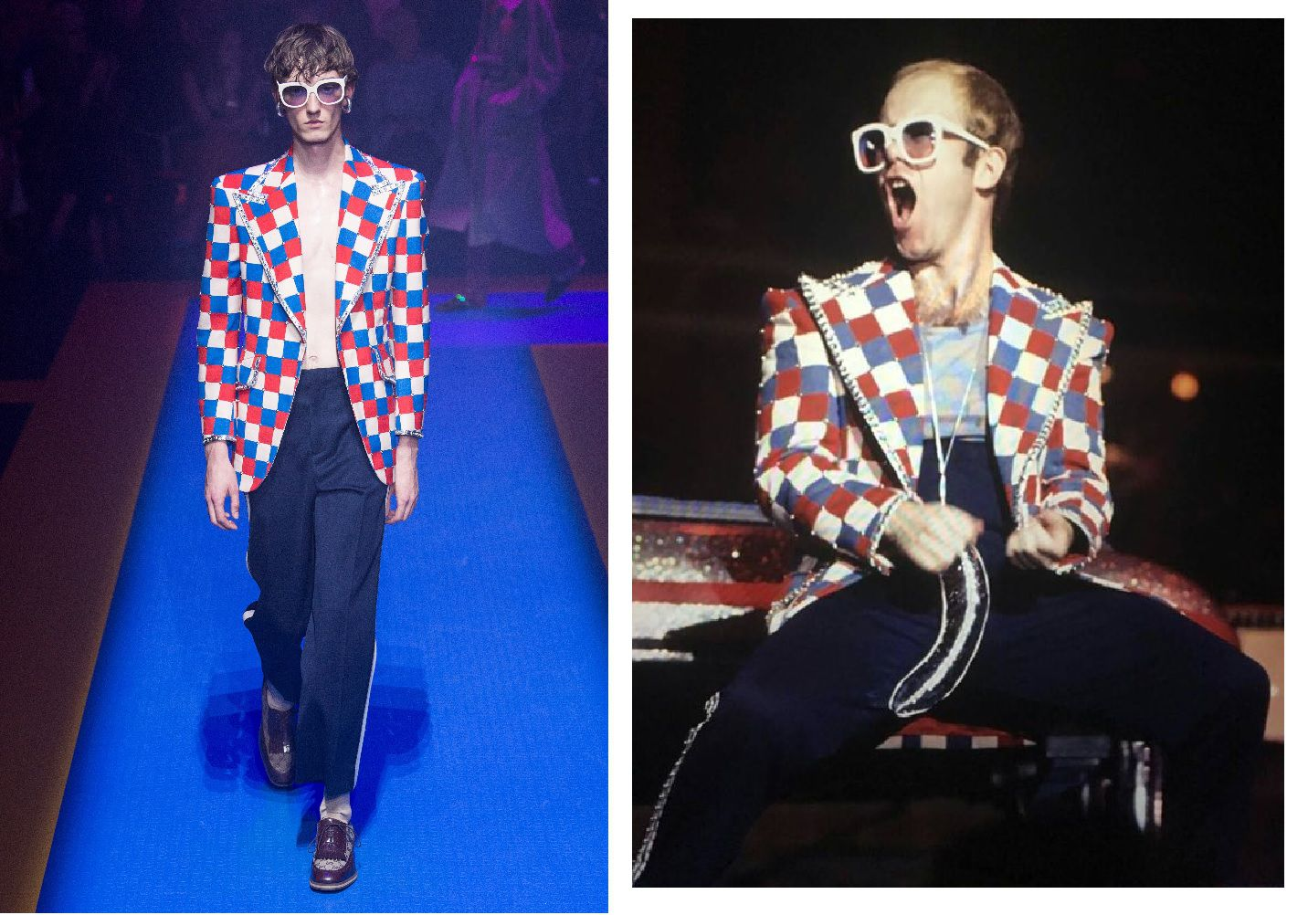 c18afec3b Michele is a designer with a clear love of seventies nostalgia, it was only  a matter of time he would reference Elton John, a pop star synonymous of  this ...