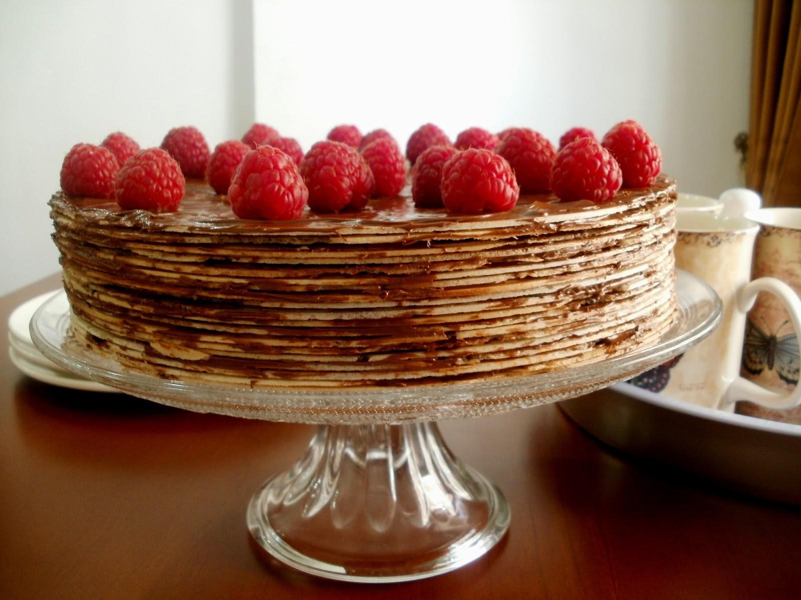 Tarta  de obleas con nutella