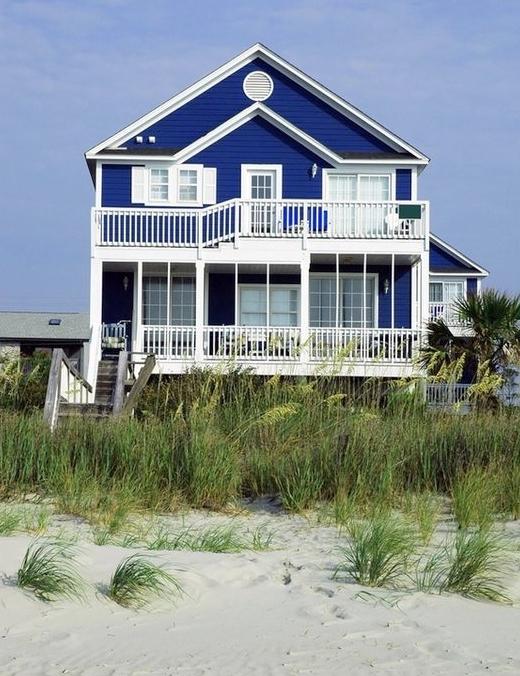 Dark Blue Vibrant Beach House