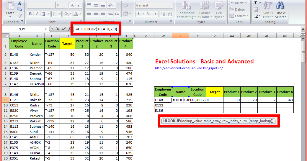 How To Use The Hlookup Function With Examples Excel