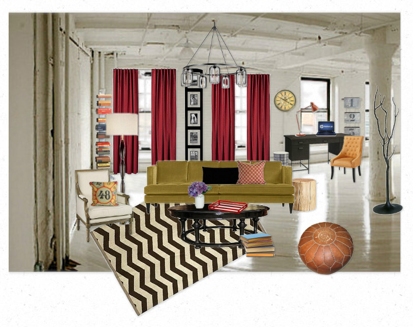 The Lovely Side: Olioboard: Urban Eclectic Living Room